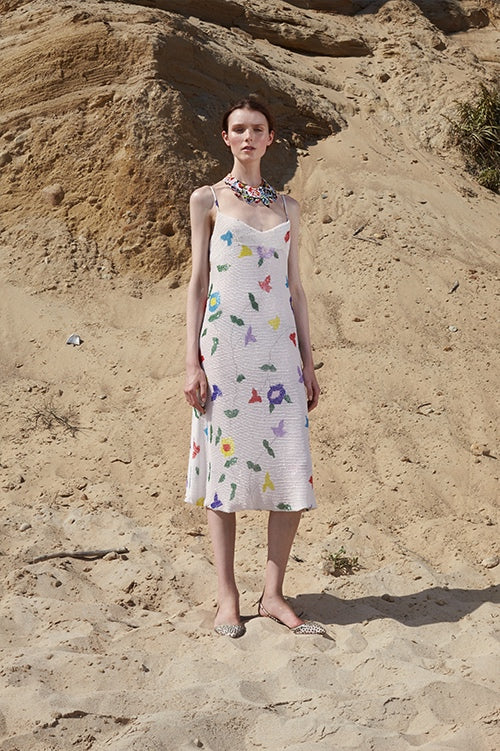 Cynthia Rowley Spring 2016 look 5 featuring a beaded floral knee length slip dress