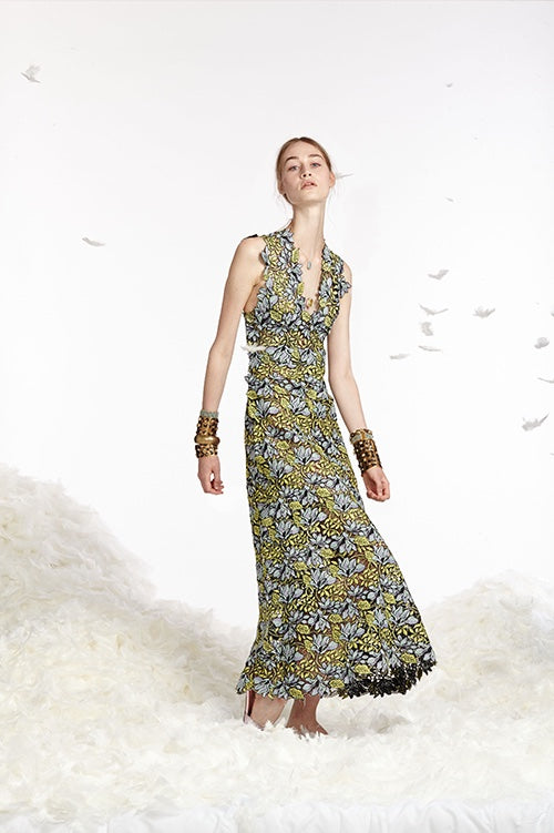 Cynthia Rowley Spring 2017 look 10 featuring a yellowing blue floral lace v-neck maxi dress