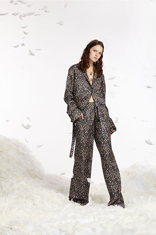 Cynthia Rowley Spring 2017 look 13 featuring a mini floral printed silk twill pajama pants and shirt