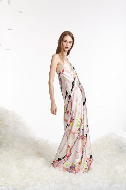 Cynthia Rowley Spring 2017 look 15 featuring a maxi slip dress in light pink printed silk twill