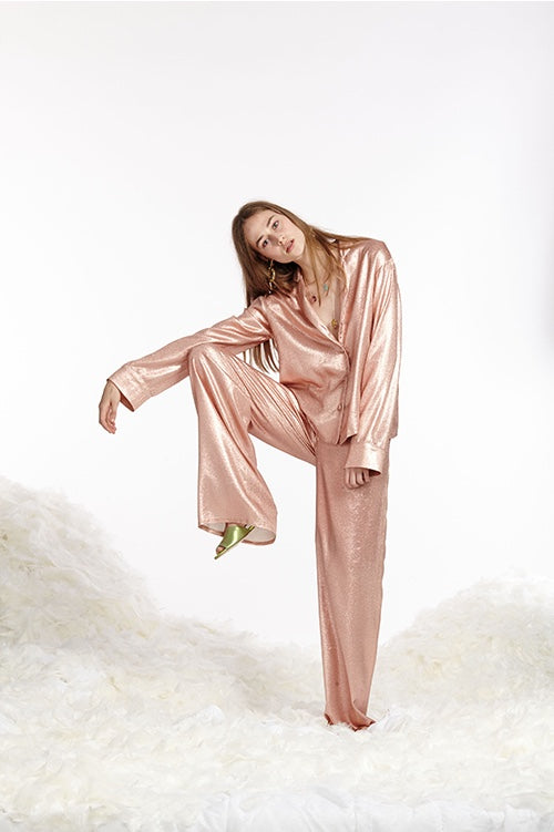 Cynthia Rowley Spring 2017 look 31 featuring a rose gold metallic lamé pajama pants and top set