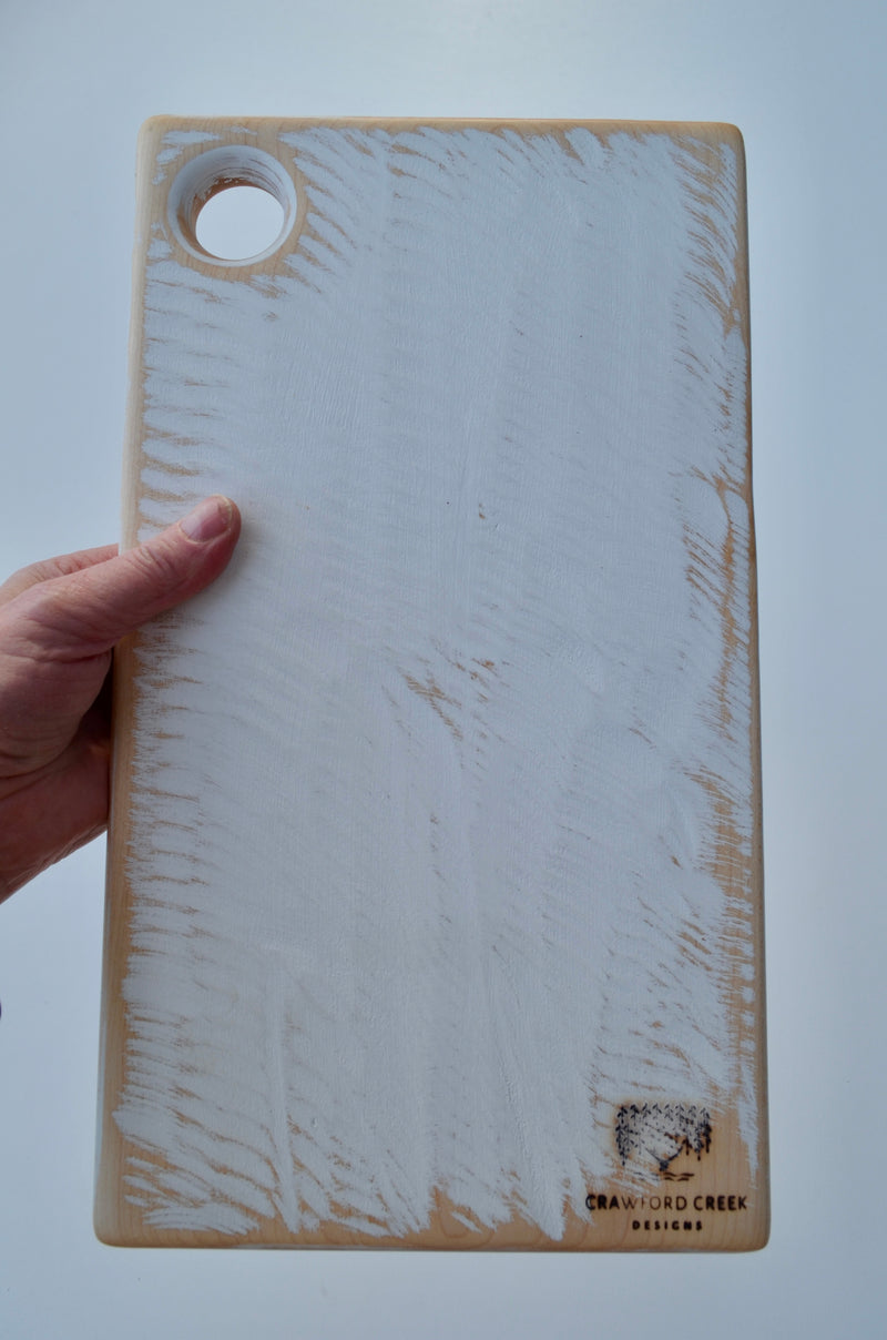 White Cutting Board handcrafted from Eastern Maple hardwood