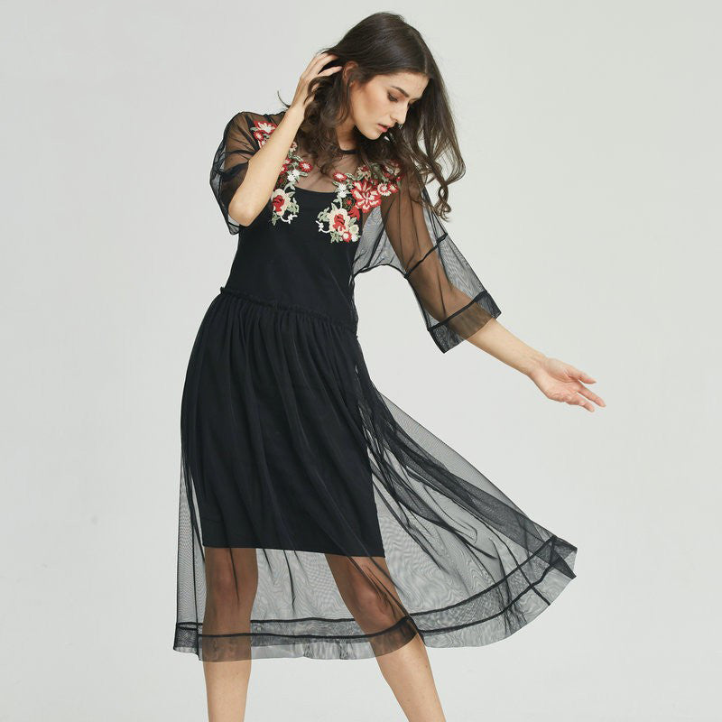 b0704f4455d Women s Regular S M L Black Sheer Floral Embroidered Mesh Midi Dress ...