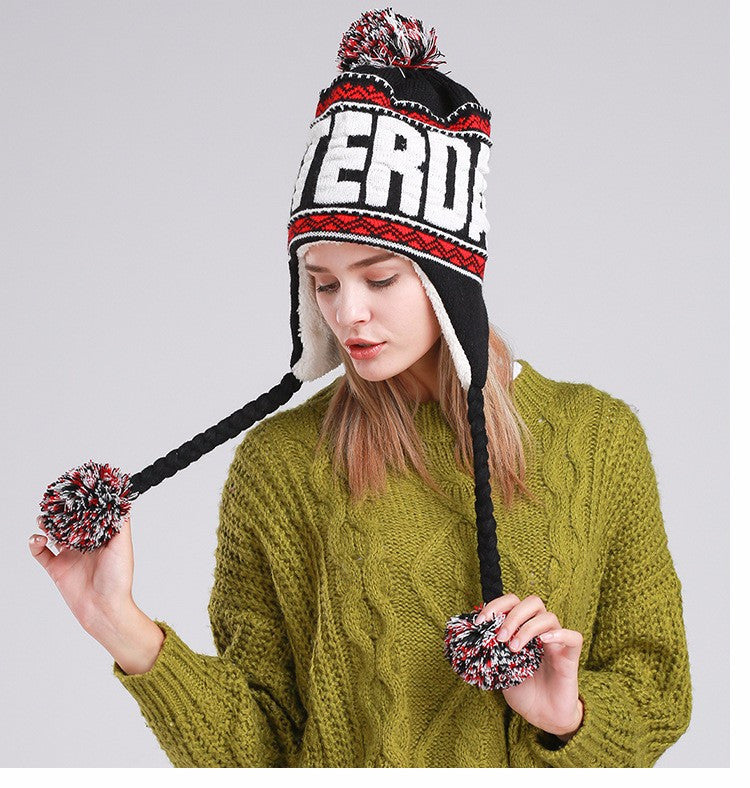 Women s Amsterdam Pom Pom Beanie Winter Hat with Ears and Top Ball ... 1c559bde428