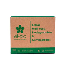 (PACK X 100) BOLSITAS MULTIUSOS BIODEGRADABLES Y COMPOSTABLES 6L by Ékolo