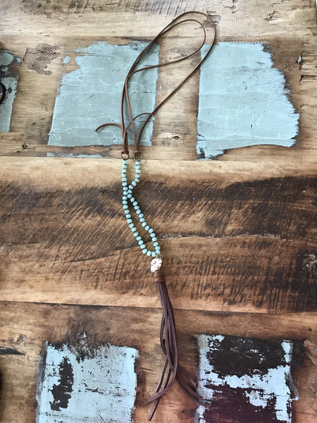 Bead & Tassel Necklace-Turquoise