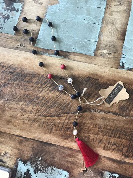 Go Texans Bead n' Tassel Necklace