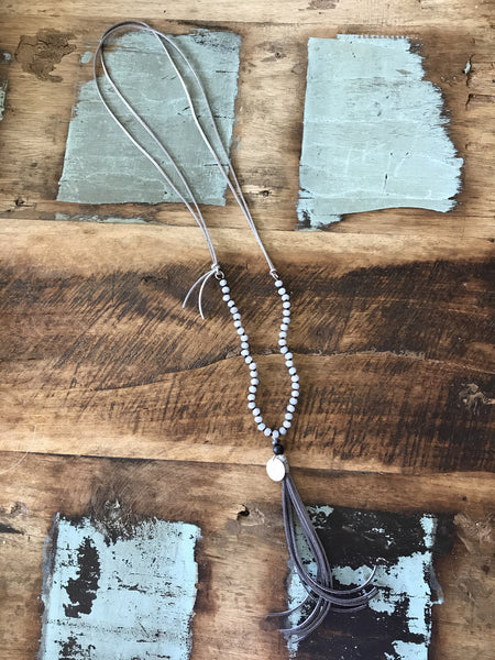 Coin, Bead & Tassel Necklace-Grey