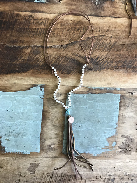 Coin, Bead & Tassel Necklace-Cream