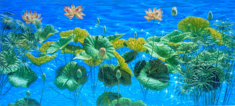 David Ruhe 'Summer Showers' Limited Edition Giclee Frog on Lilly pads with tropical flowers