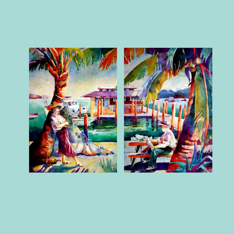 Janku Tropical Watercolors Rainbow Coast with Palm Trees