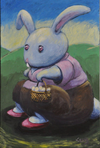Rabbit in red shoes holding a basket sits on a log