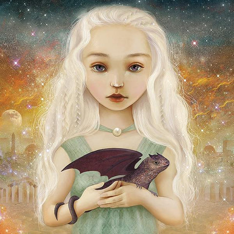 Girl with Dragon Princess Khalessi Game of Thrones