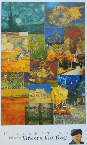 Van Gogh 150 years art collage poster
