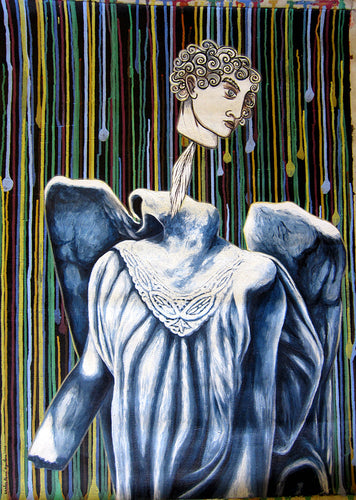 Cuban Artist sublime painting on canvas lady with head leaving body