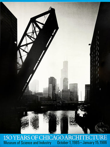 Vintage Chicago black and white cityscape poster for the Museum of Science and Industry from 1985.