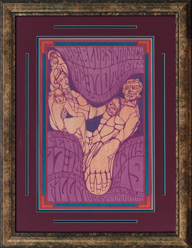 Purple Rock & Roll Custom Framed with V-grooves & four mats. Af Wes Wilson design for Bill Graham featuring Canned Heat , The Blues Project & Mothers of Invention.