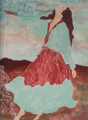 Women Floating with Bird over hills in a beautiful flowing dress