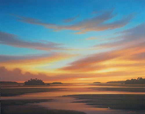 Landscape painting glowing sunrise sunset panorama sky over river marsh