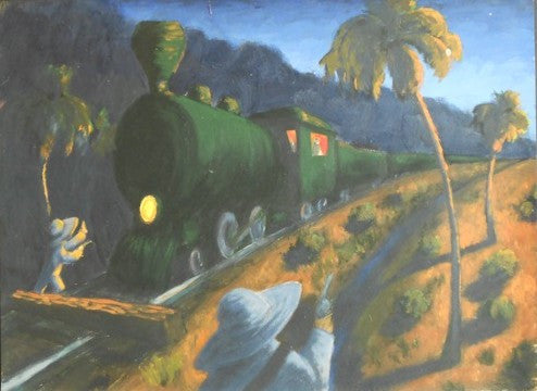 Caleb, Train, Night, Dusk, Seven North Art, Clearwater, Art Gallery