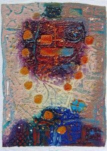 primitive looking Abstract embossed etching lots of color