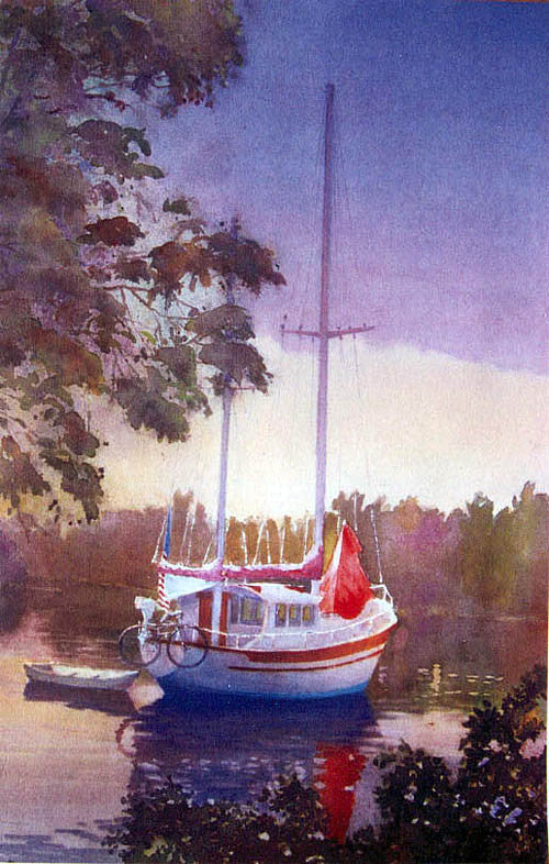 water scene of anchored sailboat on waterway with trees Boca Grande Florida