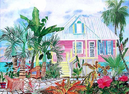 Seitz Eileen Pink Pastel beach cottage palm trees tropics