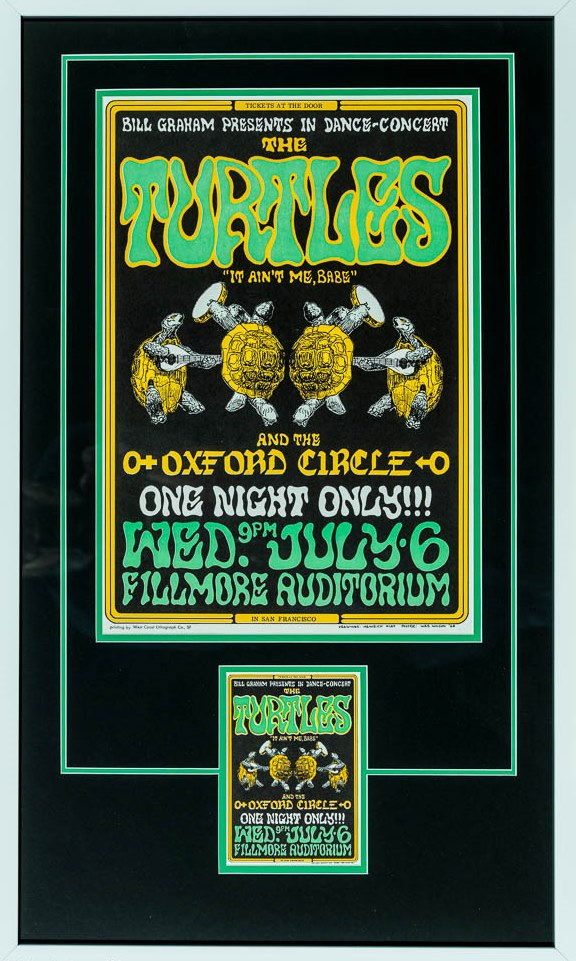 Wes Wilson and Heinrich Kley - The Turtles and Oxford Circle - Second Edition Framed 14 x 19.5 Concert Poster