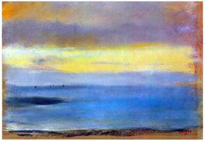 Edgar Degas ''Coastal Strip at Sunset'' Plein Air Impressionism with beach colors