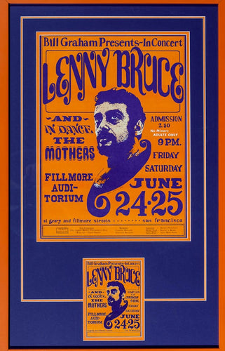 Lenny Bruce in concert at the Fillmore Auditorium San Francisco June 1964 Comedy Music event poster 30.75'' x 20''