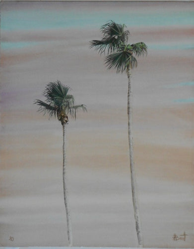 Silver gelatin Black-White-Photo-Hand-painted-Tall- palm trees beautiful sky