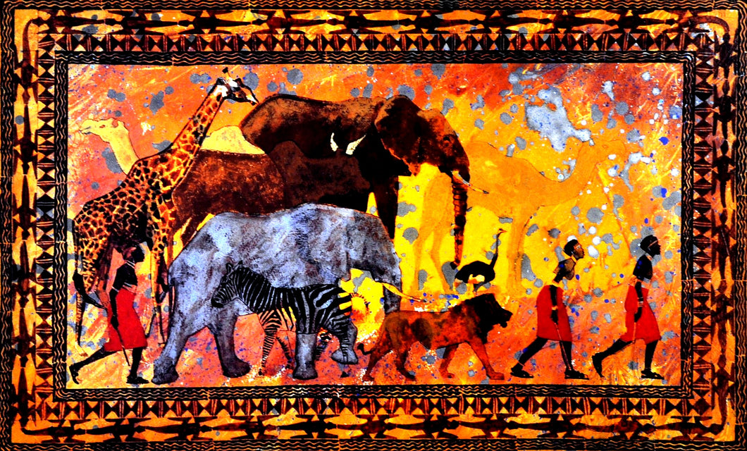 Africa tribe people animals elephants Giraffe Lion and  zebra