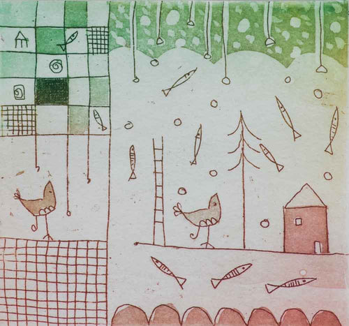 birds fish red green etching Cute farm scene with fish flying in the sky. A rooster sits on a fence waiting for sunrise