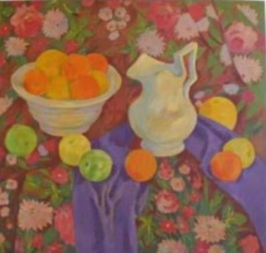 Colorful  still life of Russian scarf with fruit, vase & bowl of oranges