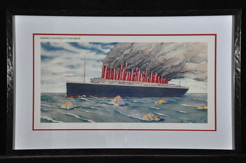 Ocean Liner Thank you for not smoking Is a creative take-off on the famous Titanic disaster