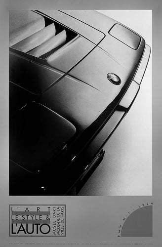 A vintage BMW classic car poster in black and white from the 1980's.
