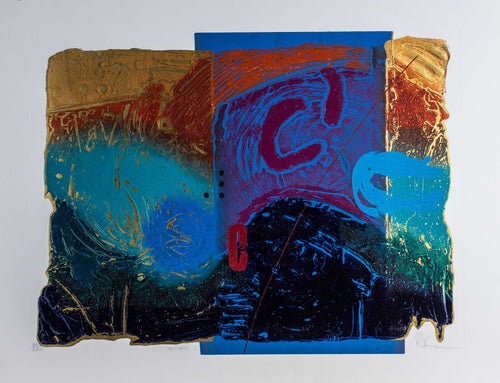 Orignial handmade silkscreen colorful, Gold, Abstract