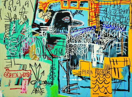 graffiti new york city jean basquiat madonna 1980s bird on silk yellow and green
