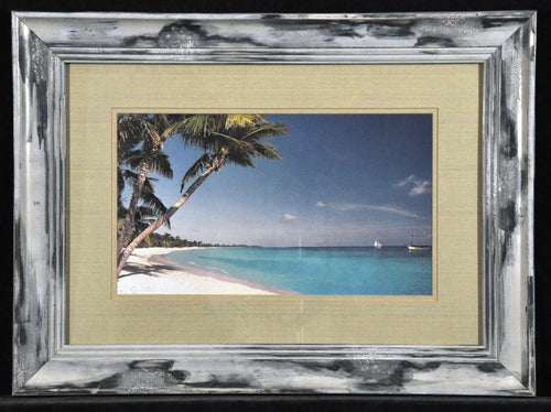Beach painting framed sea ocean palm tree calming Bahamas