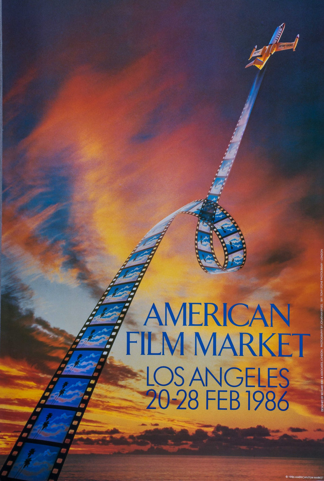 Air plane Flying in sunset pulling long string of film American Film Market poster