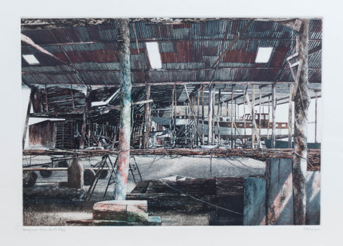 Bisson, P. ''Boat Yard'' Original Handmade Etching limited edition  21x25.5