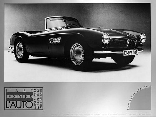 BMW 1955 BMW Coupe 507 Black and white poster of a vintage automobile