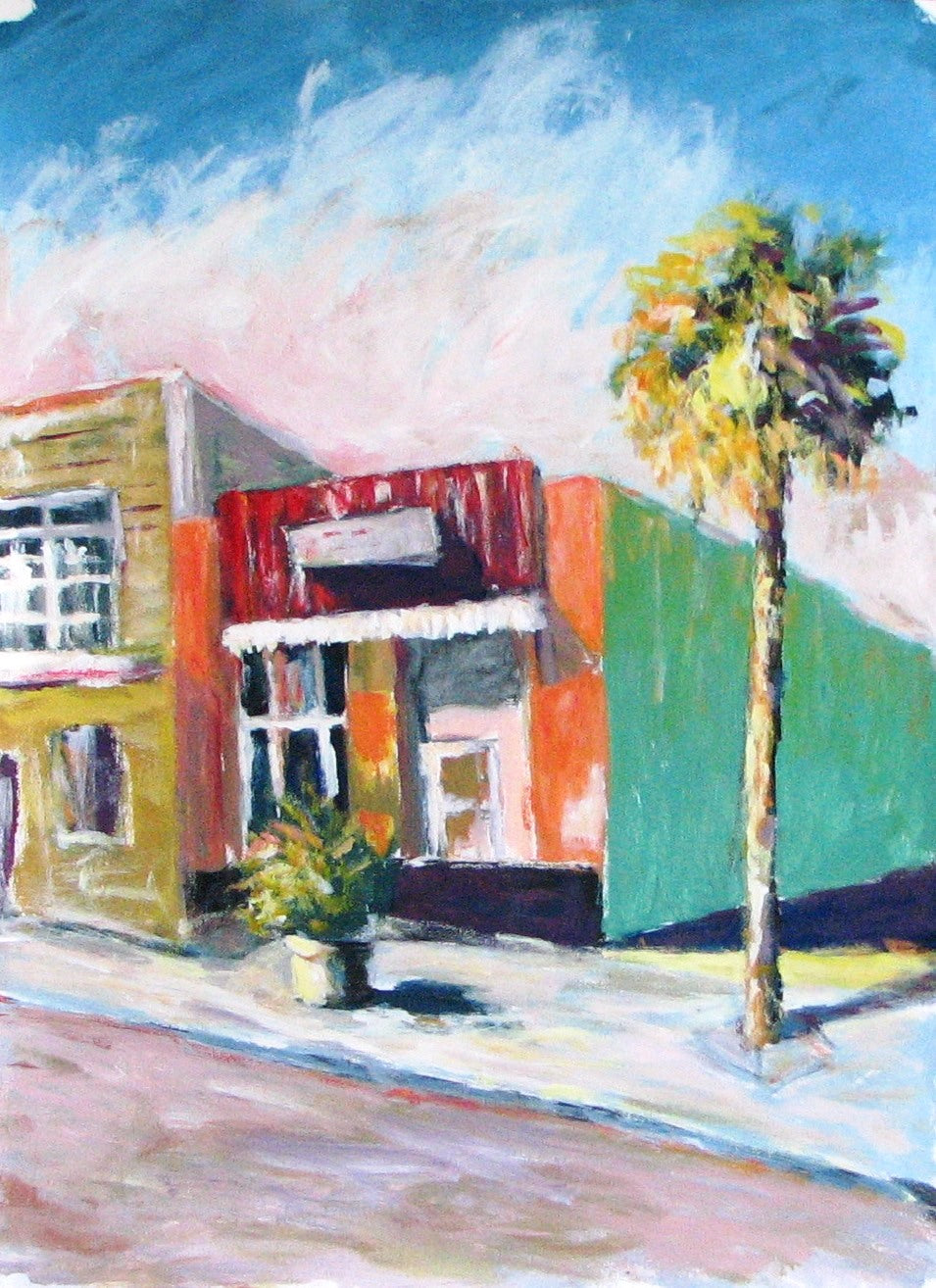 Caleb, 'Sidewalk Shops' Original Acrylic Painting on Rag Paper 22x30