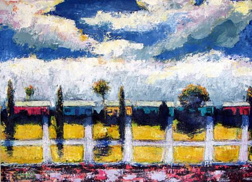Modern colorful land and cityscape original painting SEVEN north art caleb