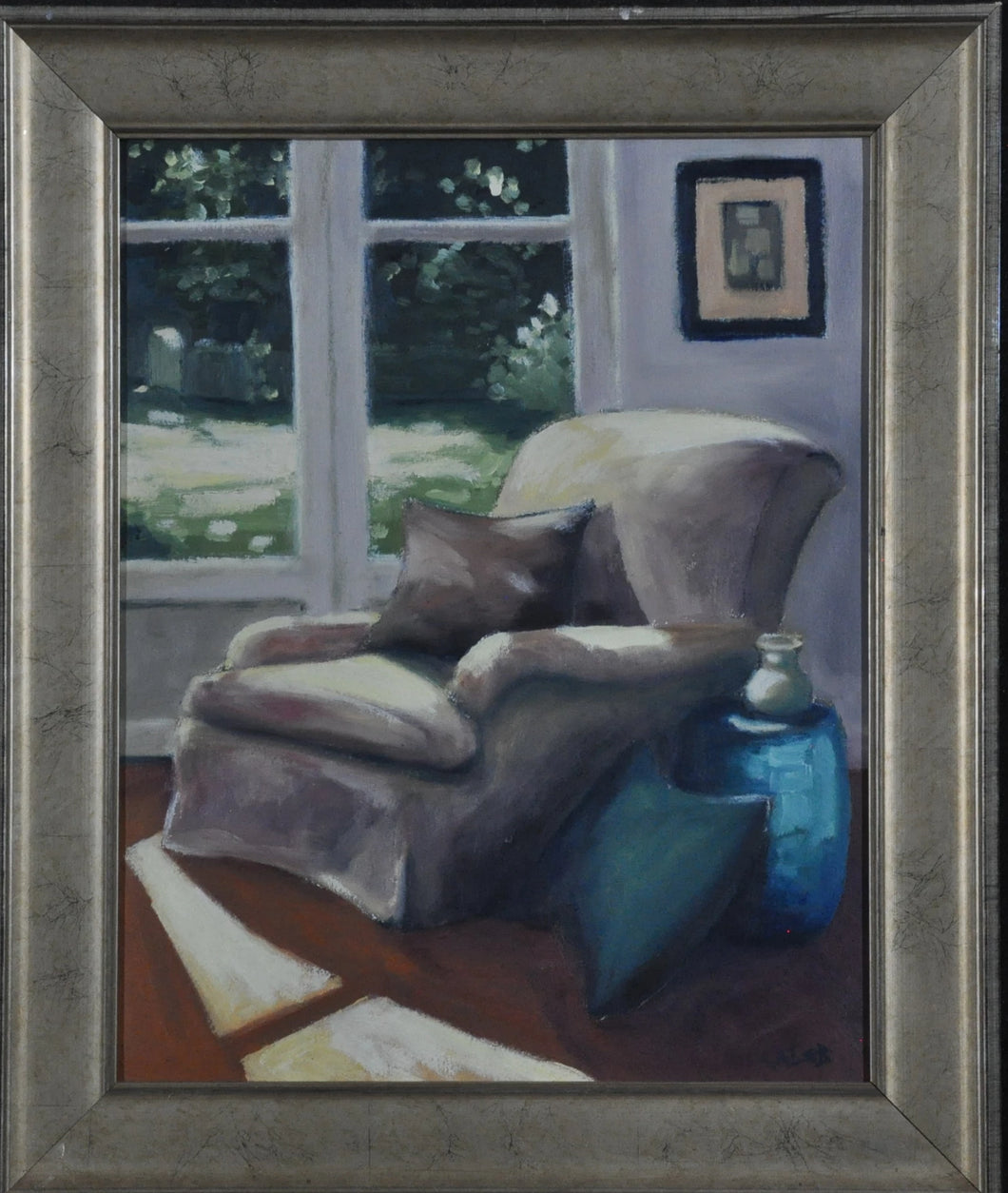 Original painting of Easy Chair with pillows window view to gardens and sun shining