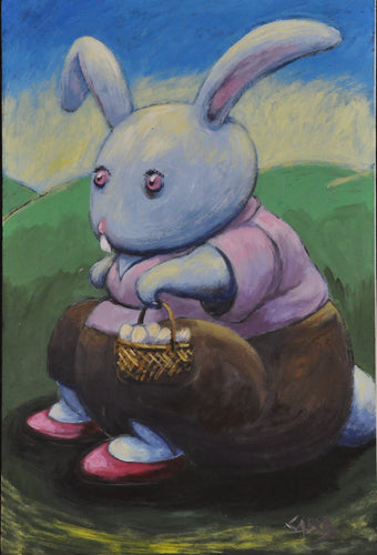 A sweet little bunny rabbit sits on a log wearing a pair of red shoes.