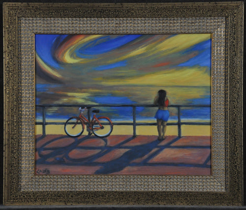 taking time girl bike pier wandering colorful sky caleb Seven North Art Gallery Clearwater