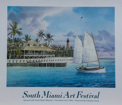 Poster South Miami Art Festival 1994 Beach Sailboat Lighthouse Florida docks