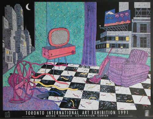 Christiansen-D.L.-Last-Night-22x30- a Scene in an urban house at night with vintage 1980's aesthetic Toronto-International-Art-Exhibition-1991-Metro-Toronto-Convention-Center-list-50-ou.jpg