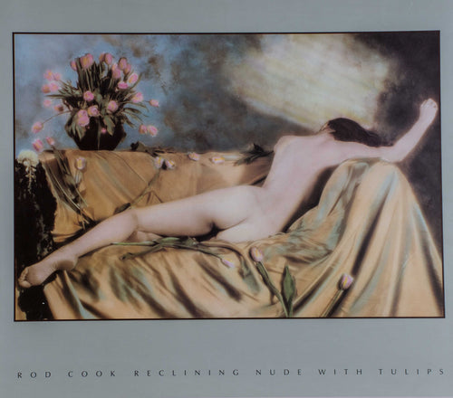 art print of a nude woman lying on a couch on top of beautiful pink spring tulips